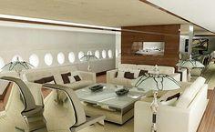 Airbus Lounge by Edése Doret Luxury Jets, Luxury Private Jets, Private Plane, Luxury Yachts, Airbus A380, Boeing 747, Avion Jet, Airplane Interior, Airplane Design