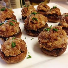 "Caroline and Brian's Stuffed Mushrooms | ""These fantastic portobello mushrooms are stuffed with a seasoned turkey sausage and cream cheese mixture. Even those who don't usually like mushrooms will love these!"""