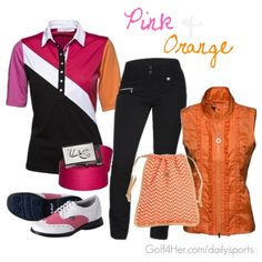 """""""Golf OOTD: Pink and Orange"""" by golf4her featuring the Daily Sports Holiday Collection"""