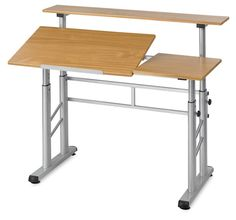 "Width (Table Top)	19.75""	50.165 cm  Length (Table Top)	31.5""	80.01 cm  Maximum Height	37.25""	94.615 cm  Minimum Height	26""	66.04 cm  Adjustment Angle (Table Top)	0-50°  Weight	130 lbs"