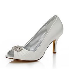 bdb30751 [$39.99] Women's Shoes Silk Spring Summer Dyeable Shoes Club Shoes Comfort  Wedding Shoes Stiletto Heel Open Toe Peep Toe Round Toe for Wedding