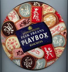 Peek Frean's Playbox Cookies I used to love these as a kid. Hard icing covering some sort of cookie-like substance. Cool Packaging, Vintage Packaging, Vintage Cookies, Biscuit Cookies, Vintage Tins, My Childhood Memories, Food Labels, Vintage Advertisements, Antiques