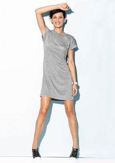 Športové šaty s potlačou textu Shirt Dress, T Shirt, Comfy, Street Style, Grey, Casual, Dresses, Fashion, Woman Dresses