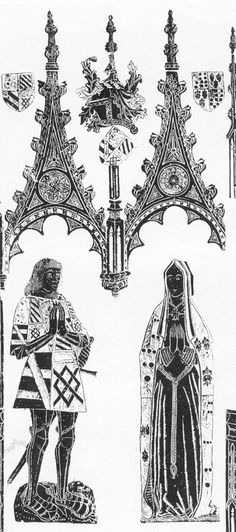 Memorial brass to Sir William Catesby, a trusted member of Richard III's inner circle, together with his wife, Margaret. Catesby was executed after the Battle of Bosworth in 1485. Via the website of the Monumental Brass Society.
