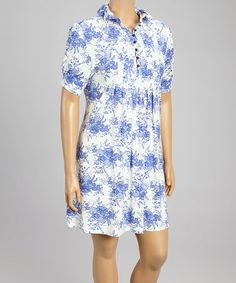 Look what I found on #zulily! Blue & White Floral Shirt Dress - Plus by Reborn Collection #zulilyfinds