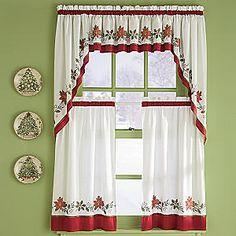 cortinas navideñas - Go ogle keresés Curtains And Draperies, Cafe Curtains, Kitchen Curtains, Christmas Kitchen, Christmas Diy, Curtain Holder, Home Sew, Crochet Curtains, Ideas Hogar