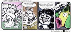 10 Vegetarianismo + pulpo +meme +René Descartes+Pokemón en 4 viñetas.