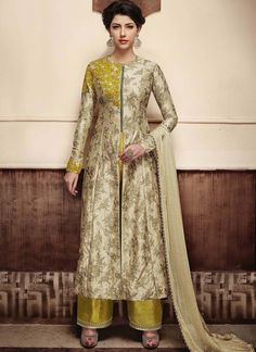 Long Jacket With Embroidery Butta Work , 7 Days Easy Return, Buy Designer Salwar Kameez, Silk Salwar Kameez, Wedding Salwar Kameez etc....