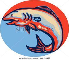 Illustration of an Atlantic salmon fish jumping done in retro style - stock vector #salmon #retro #illustration