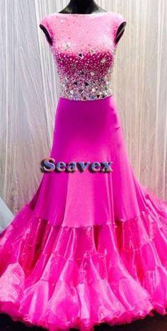 Women Ballroom Standard Waltz Tango Dance Dress US 6 UK 8 Two Pink Sliver