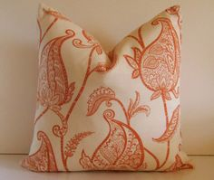Set of Two - Decorative Pillows - 20 inch - Duralee Lucinda 3 Melon - Persimmon - Orange - Cream - Paisley - Floral - ready to ship. $85.00, via Etsy.