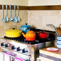 I covet Heather Taylor's (LA in Bloom) kitchen - her Le Creuset collection is impressive.