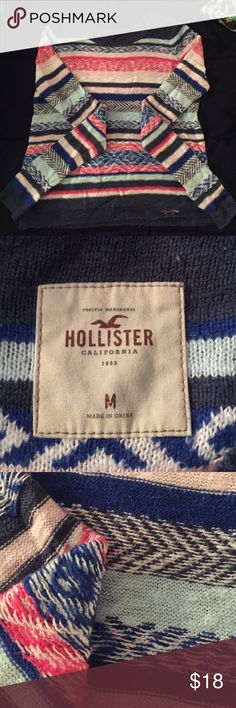 Hollister Sweater Hollister sweater. Made to look as if it's inside out. Bright colors, really comfy. Not worn much. Sweaters Crew & Scoop Necks