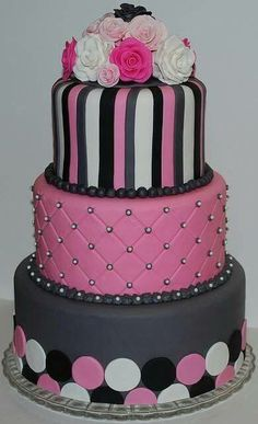 Pink, grey, white, & black circles & stripes, quilt look & roses as topper cake
