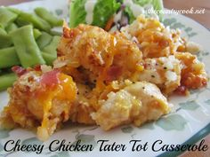 Cheesy Chicken Tater Tot Casserole - cooked in the Crock Pot. Website has other Crock Pot recipes also. Crock Pot Recipes, Crock Pot Cooking, Slow Cooker Recipes, Chicken Recipes, Cooking Recipes, Casserole Recipes, Crock Pots, Crockpot Meals, Cheesy Recipes