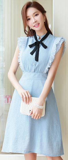 StyleOnme_Ribbon Tie Frill Sleeve Flared Dress #pastel #blue #frill #romantic #dress #koreanfashion #kstyle #kfashion #seoul #summertrend #datelook