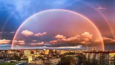 Amazing double rainbow seen during sunset. Belgrade, Serbia. Photo by Miloš Toškovi