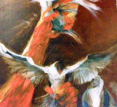 "E.M.Brækstad /"" The red hand / akryl /tree"