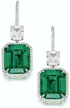 VERY FINE PAIR OF EMERALD AND DIAMOND PENDENT EARRINGS – Sotheby's