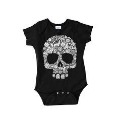 White Skull Onesie Black black, kids, baby clothing