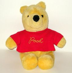 Vintage Gund Sears Disney Winnie the Pooh in Red Knit Sweater Plush 15 inch - I so had one of these when I was a kid.