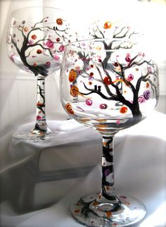 Wassail hand painted wine glasses set of 4 by TwigStudioArt, $52.00