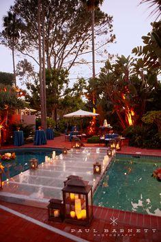 Amazing plexiglass bridge over a pool for a summer night reception. Pool Bridge, Backyard Wedding Pool, Pool Wedding Decorations, Wedding Ideas, Wedding Bride, Wedding Planning, Wedding Dresses, Pool Covers, Romantic Proposal