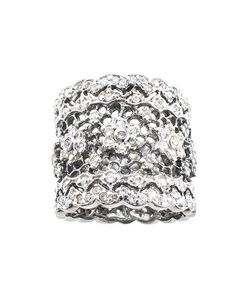 "Jarin K Jewelry - Oxidized Floral Filigree Ring  This beautiful Sterling Silver tapered ""cigar band"" style ring is in the classic Floral Lace design. The band is encrusted in the highest quality hand cut diamond simulants."