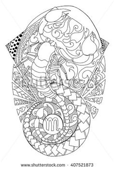 scorpio tattoo design, zentangle of scorpion isolated on white. Vector illustration. Black and white