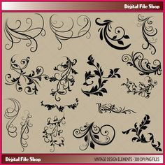 Vintage flower design elements clipart, commercial use, valentines digital clip art, digital images on Etsy, $3.15 AUD