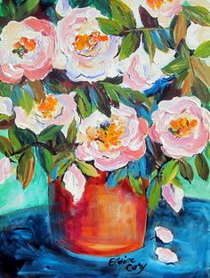 A Copper Vase  is an original painting done by me Elaine Cory. It is on a deep canvas 11 x 14 x 2 1/4 deep. The sides are painted like the