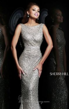 Open Back Sequined Gown by Sherri Hill 4802