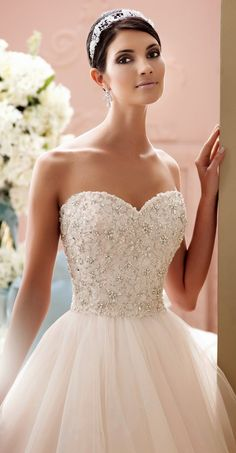 The Luca gown by David Tutera for Mon Cheri Bridals is more stunning than ever. We'll forever love this blush wedding dress with its richly encrusted hand-beaded motif bodice. See it in real life at Panache Bridal Pasadena! Mon Cheri Wedding Dresses, 2015 Wedding Dresses, Bridal Dresses, Wedding Gowns, Wedding Blog, Lace Wedding, Wedding Ideas, David Tutera, Sophisticated Bride