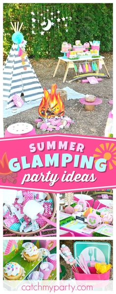 Get ready for a fantastic a DIY girly glam camp out! The table settings are awesome!! See more party ideas and share yours at CatchMyParty.com