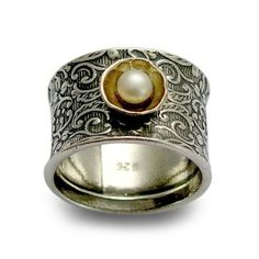 Sterling silver  filigree band with yellow gold and pearl - Superstition. $122.00, via Etsy.