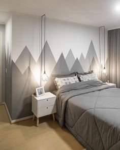 Do you need new decor for your room but your budget is low? Try to paint your walls creatively! Think about boring white walls as a blank canvas that is waiting for you and your color! Rare and unique wall color ideas are often based on simple shapes and Creative Wall Painting, Room Wall Painting, Bedroom Wall Paints, Paint Walls, Wall Paintings, Chalk Paint, Bedroom Colors, Bedroom Decor, Bedroom Storage