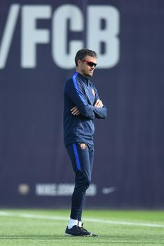 Luis Enrique the head coach of barcelona looks on during the FC Barcelona training session at Ciutat Esportiva Joan Gamper on October 18, 2016 in Barcelona, Catalonia.