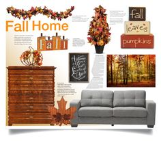 """""""Fall Home"""" by jeneric2015 ❤ liked on Polyvore featuring interior, interiors, interior design, home, home decor, interior decorating, Baxton Studio and Improvements"""