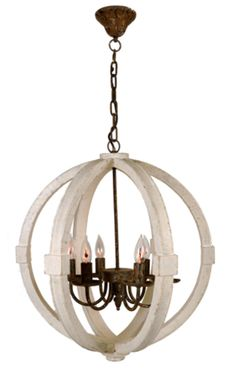 Mixing wood and wrought iron materials, this transitional style chandelier will provide a warm glow with it's simple design and rustic finish. Height Width Bulb Type 5 x 15 watt Orb Chandelier, Wooden Chandelier, Iron Chandeliers, Farmhouse Lighting, Rustic Lighting, Kitchen Lighting, Farmhouse Lamps, Cottage Lighting, Lighting Ideas
