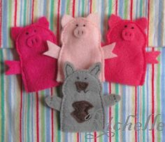 three pigs and wolf finger puppets
