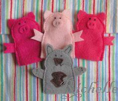 3 little pigs & big bad wolf felt finger puppets Felt Puppets, Puppets For Kids, Felt Finger Puppets, Pig Muppets, Crafts To Do, Felt Crafts, Kids Crafts, Finger Puppet Patterns, Pig Costumes