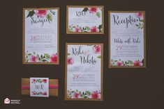 Modern Floral Wedding Card with RSVP