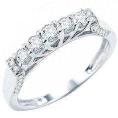Share and get $20 off your order of $100 or more. 0.55 Carat (ctw) 14k White Gold Round Diamond Ladies Anniversary Wedding Band Stackable Ring - Dazzling Rock #https://www.pinterest.com/dazzlingrock/