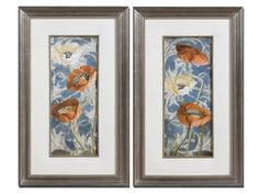 Shop for Uttermost Poppies De Bleu I, II, S/2 Art. These colorful poppies are accented by beige faux linen mats and surrounded by golden bronze frames and fillets with a light brown and black wash.