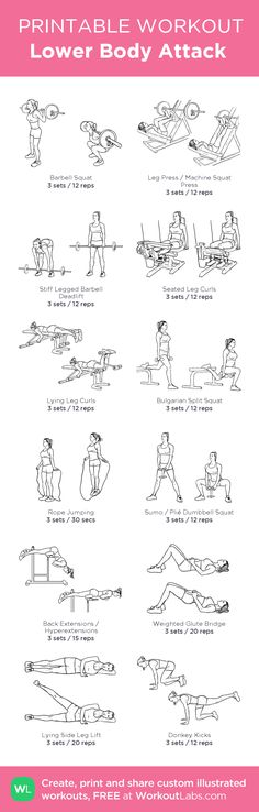 Lower Body Attack – my custom workout created at WorkoutLabs.com • Click through to download as printable PDF! #customworkout