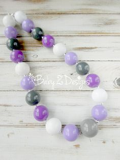 Purple Lavender Gray and White Bubblegum Chunky Necklace by babyzdesigns, $11.99