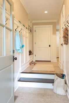 Board and Batten Hallway/Mudroom-Dalia Canora Design Craftsman Interior, Craftsman House Plans, Modern House Plans, Small House Plans, Interior Doors, Contemporary Interior Design, Luxury Interior Design, Online Interior Design Services, House Essentials