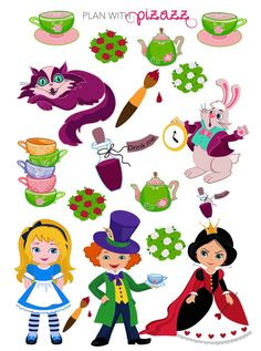Disney ALICE IN WONDERLAND Inspired Themed Planner Sticker Sheet perfect for Erin Condren Planner