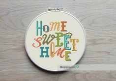 modern cross stitch pattern Home sweet home cross by Happinesst