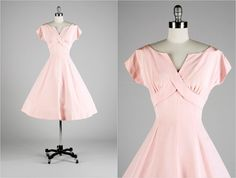 Vintage 1950s Dress  Pink Cotton Faille  by millstreetvintage, $185.00